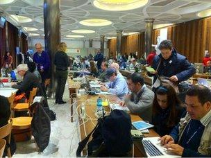 Reporters in the Vatican's press centre