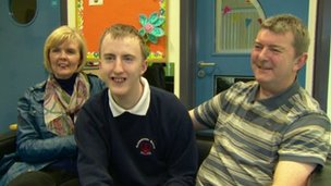 Jordan Graham with his mum and dad