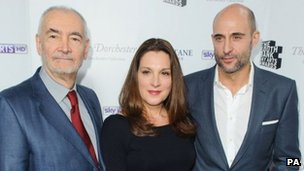 Michael J Wilson, Barbara Broccoli and Mark Strong