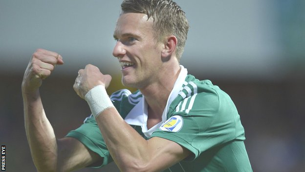Dean Shiels celebrates scoring against Luxembourg last September