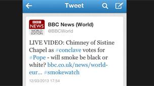 BBC World Twitter message