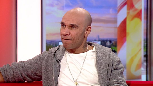 Goldie on the BBC Breakfast sofa