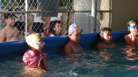 Kids in Vietnam learning to swim