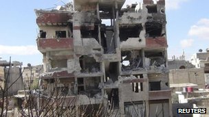Purported photograph showing war-damaged building in Darayya (23 February 2013)