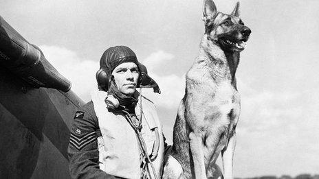 George 'Grumpy' Unwin and his Alsatian Flash at RAF Duxford