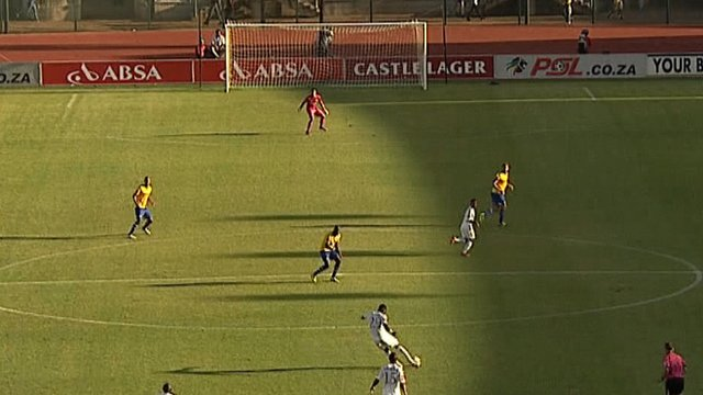 SuperSport United defender Mor Diouf scores from 70 yards