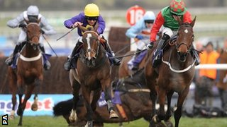 Lord Windermere wins the RSA Chase after Boston Bob falls at the last