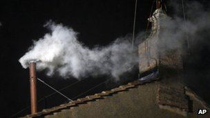 White smoke from Sistine Chapel chimney - 13 March