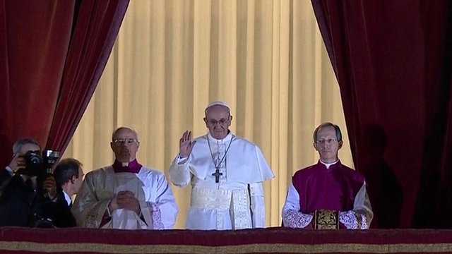 Argentine Cardinal Jorge Mario Bergoglio has greeting crowds in Rome's St Peter's Square