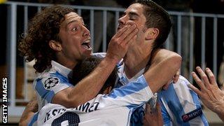 Malaga celebrate Champions League win