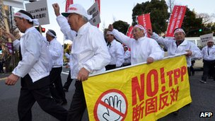 Japanese farmers association members protesting against TPP