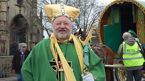 Len Cale as St Patrick