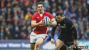 George North of Wales goes clear during the Six Nations match against Scotland