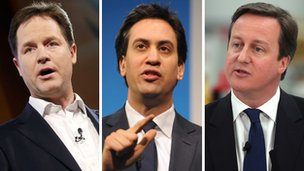 Nick Clegg, Ed Miliband and David Cameron