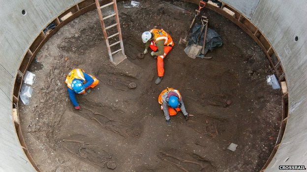 Crossrail excavations at Charterhouse Square