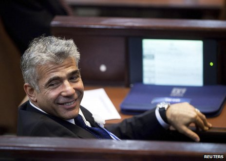 Yair Lapid, leader of the Yesh Atid party, in the new Israeli parliament, 5 February 2013