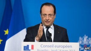 Francois Hollande in Brussels, 14 March