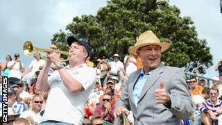 Geoffrey Boycott joins the Barmy Army during the second Test in Wellington