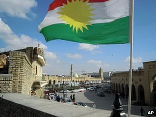 A Kurdish flag in the old centre of Irbil, the capital of Iraq's autonomous Kurdish region