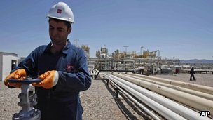 Worker in an oil field in Kurdish Iraq