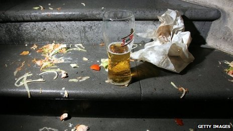 Beer and fast food wrapper