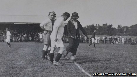 Evelyn Bond-Cabbell kicks off a match at Cromer Town Football Club in the 1920s