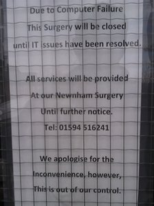 Sign put in the window of Westbury-on-Severn surgery notifying people of the closure.
