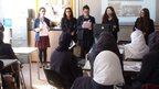 King David pupils address the Manchester Islamic School for Girls students