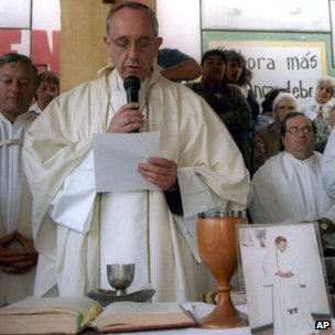 Cardinal Jorge Bergoglio speaks during a Mass celebrating the life of Carlos Mugica, a priest killed by a right-wing death squad in Argentina in 1974 (2000)