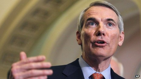 Rob Portman speaks on Capitol Hill in Washington 15 February 2011