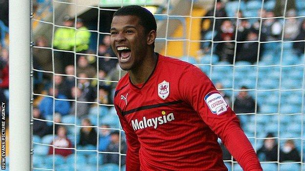 Fraizer Campbell celebrates a goal for Cardiff City