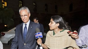 Mr Mancini leaving India&#039;s Ministry of External Affairs on 12 March