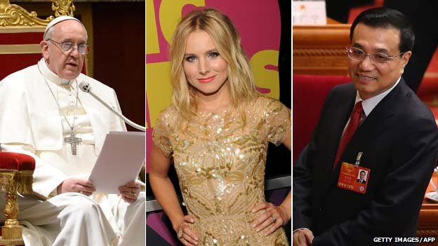 Pope Francis, Kristen Bell, star of Veronica Mars, and Li Keqiang