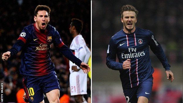 Lionel Messi and David Beckham