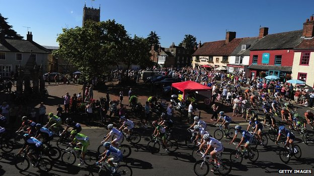 Tour of Britain riders cycle through Woodbridge in Suffolk