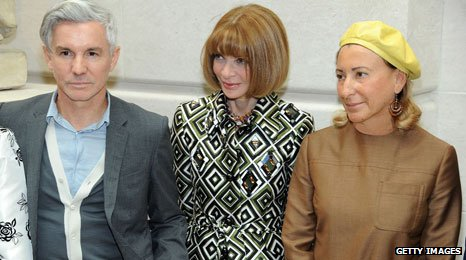 Baz Luhrmann, Editor-in-Chief of Vogue Anna Wintour and designer Miuccia Prada