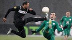 Rubin Kazan's Bebras Natcho fights for the ball with Levante's Juanfran