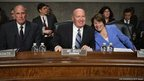 Congressional Joint Economic Committee Chairman Rep Kevin Brady and Senator Amy Klobuchar laugh
