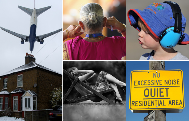 From left to right, clockwise: Plane flying low over a house, woman holding her ears, small child with headphones, a 'keep quiet' sign, woman on deckchair with hands over ears