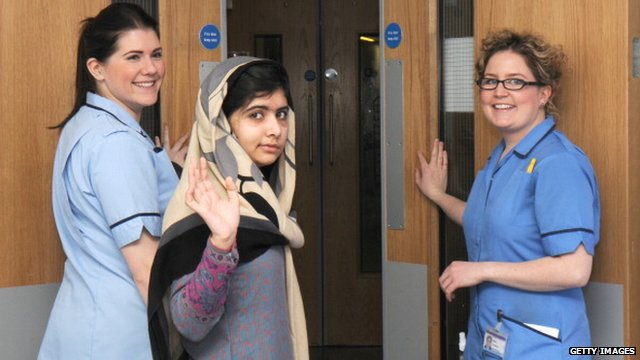 Malala at hospital in Birmingham
