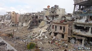 Destroyed buildings in Homs, Syria