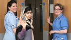 Malala at hospital in Birmingham