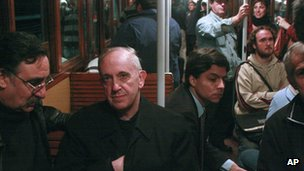 Former cardinal Jorge Mario Bergoglio travelling on Buenos Aires subway in 2008
