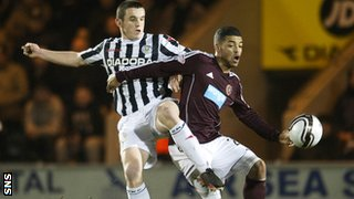 St Mirren's John McGinn and Hearts' Callum Tapping