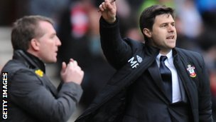 Liverpool boss Brendan Rodgers (left) and Saints boss Mauricio Pochettino