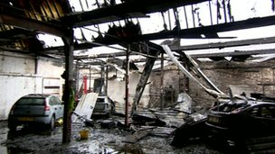 The fire caused extensive damage to Sparkles Car Wash and Tyre Centre