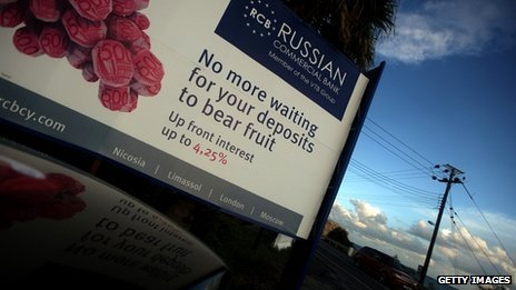 A billboard promoting a Russian bank in Limassol, Cyprus, November 2012