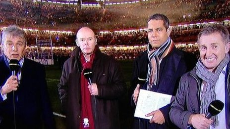 John Inverdale, Clive Woodward, Jeremy Guscott and Jonathan Davies