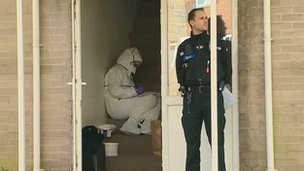 Police at the scene where the man who later died was found in Llanrumney, Cardiff
