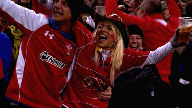 Welsh fans celebrate winning the 2013 Six Nations